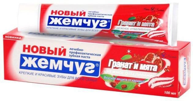 зубная паста новый жемчуг Гранат и мята