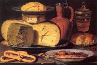 Нидерландская художница Клара Петерс в 1615 году подарила мировом искусству натюрморт с сыром, кренделями и миндалем.
