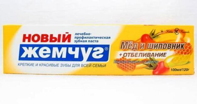зубная паста новый жемчуг Мед и шиповник