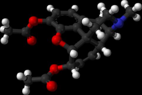 Молекула героина – одного из самых распространенных наркотиков