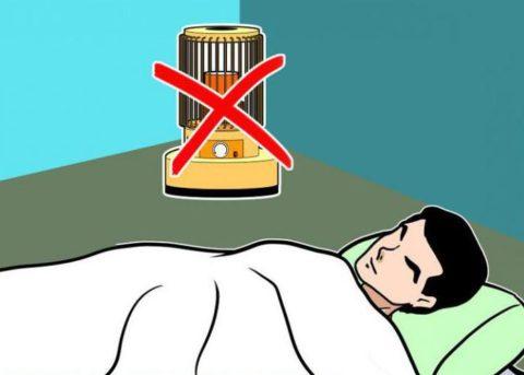 Не оставляйте включенными обогревательные приборы на ночь